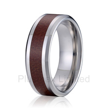 anel expression of commitment matching titanium steel wood style 8mm wedding band anniversary couples rings(China)