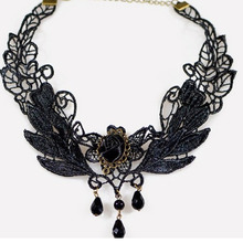1PC Vintage Handmade Retro Short Gothic Steampunk Lace Flower Choker Necklace Jewelery Black Angle Wing Leaf Charm Jewelry HOT