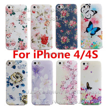 New Arrive Flower Super Hot 17 Design Painted Hard Back Cover Case For Apple iPhone 4 4S 4G 1Piece Free Shipping