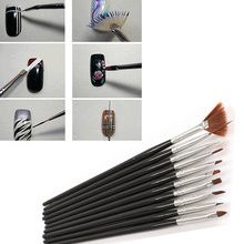 New 10Pcs Black Nail Art Set Drawing Painting Dotting Brush Pen Gel Design Tips