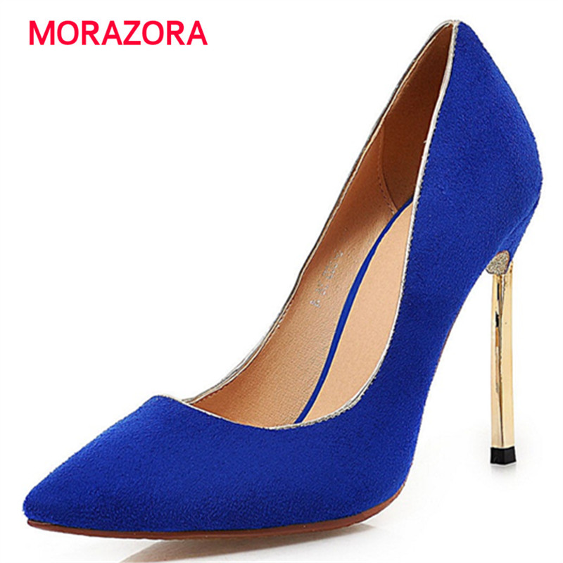 MORAZORA Wedding shoes pointed toe thin heels shoes 10cm spring autumn bride shoes elegant women pumps size 34-43<br>