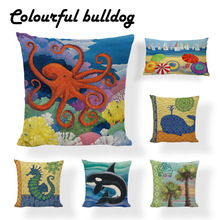 European Style Cartoon Linen Cotton Pillows Covers Marine Biological Pillowcase Home Furnishing Mediterranean Tree Cushion Cover(China)