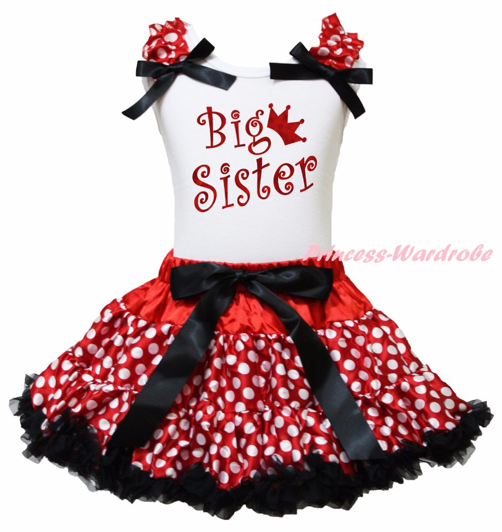 White Cotton Shirt Red White Dots Skirt Girl Outfit Set Sister Dress Christmas Costume 1-8y LKPO0017<br>