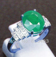 SOLID 14K WHITE GOLD NATURAL COLOMBIA EMERALD ENGAGEMENT RING