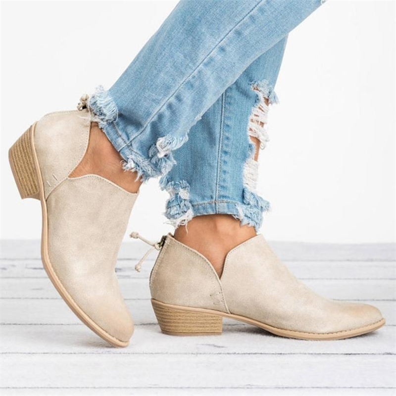 2018 NEW Women Ladies Autumn Shoes Fashion Ankle Solid Leather Martin Shoes Short Boots  O0531#3012