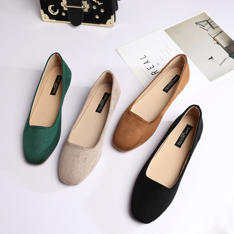 Shoes Square-Head Comfortable Flat Large-Size Fashion Shallow with Lazy-Work title=