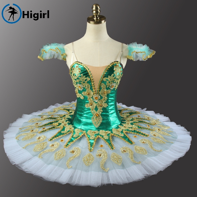 Shipping free! Green girl ballet tutu Sleeping Beauty tutu Ballerina Competition Professional Ballet Stage Costum BT9134G