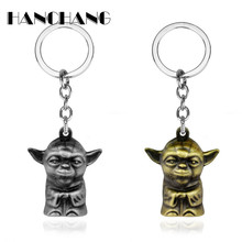 Jewellery Star Wars Keychain 3D Master Figure Yoda Pendant keyring Men Women Vintage Charms Key Chain chaveiro(China)