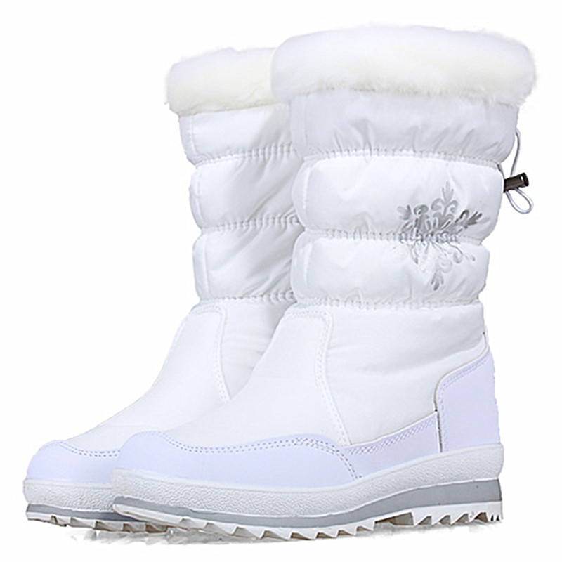 2017 Women Winter Snow Boots Ladies Plush Mid Calf Puff High Boots Female Down Waterproof Shoes Zipper Warm Flower<br>