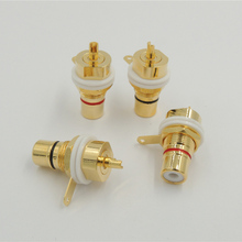 20PCS/lot High quality Copper Gold Plated RCA female Jack Panel Mount Chassis Socket