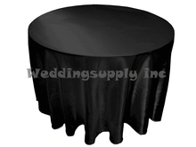 30 pcs Cheap 108'' Round Black Satin Table cloths for Sales Cheap Tablecloth for wedding free shipping Bulk Sale(China)