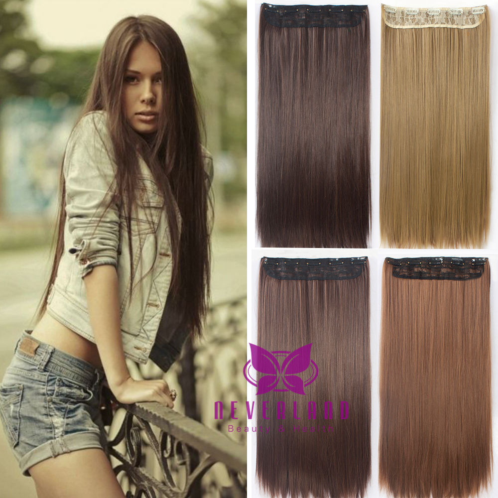 New Arrival Women Hair Extensions Natural Straight 24 60cm Synthetic Hair Extention 5 Clips Hairpiece False Hair Styling B15<br><br>Aliexpress