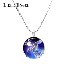 LIEBE ENGEL New Arrival Luminous Necklace Glowing in Dark Jewelry Round Glass Cabochon Unicorn Pattern Long Chain Necklace Women