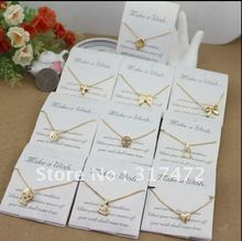 Free shipping New Arrivals mixed stytle Make a wish necklace,Star Classic Clavicle chain ( not with the paper card)(China)