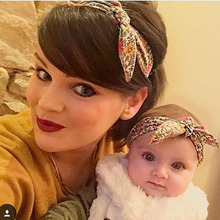 New Mum and me Headbands Topknot Floral Headband for Mom and kids Hair Accessories Mom and kids Turban Headband 1 Set