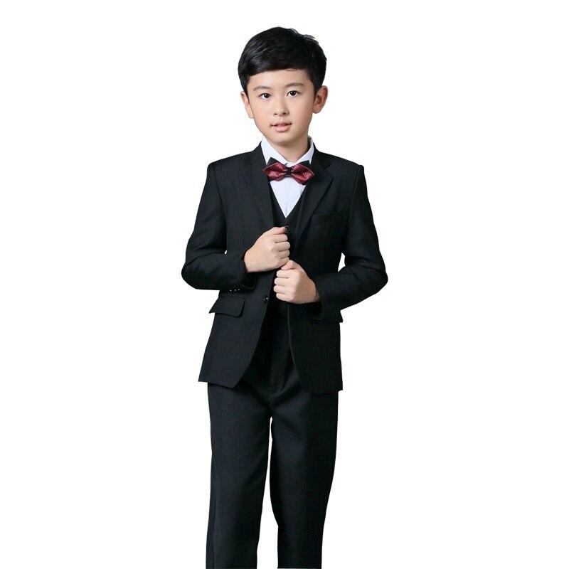 2016 New Arrival Flower Boys Blazer Wedding Suit Brand 4PCS Boys Black &amp; Blue Blazer Suit with Bowtie Kids Formal Tuxedos, C268<br>