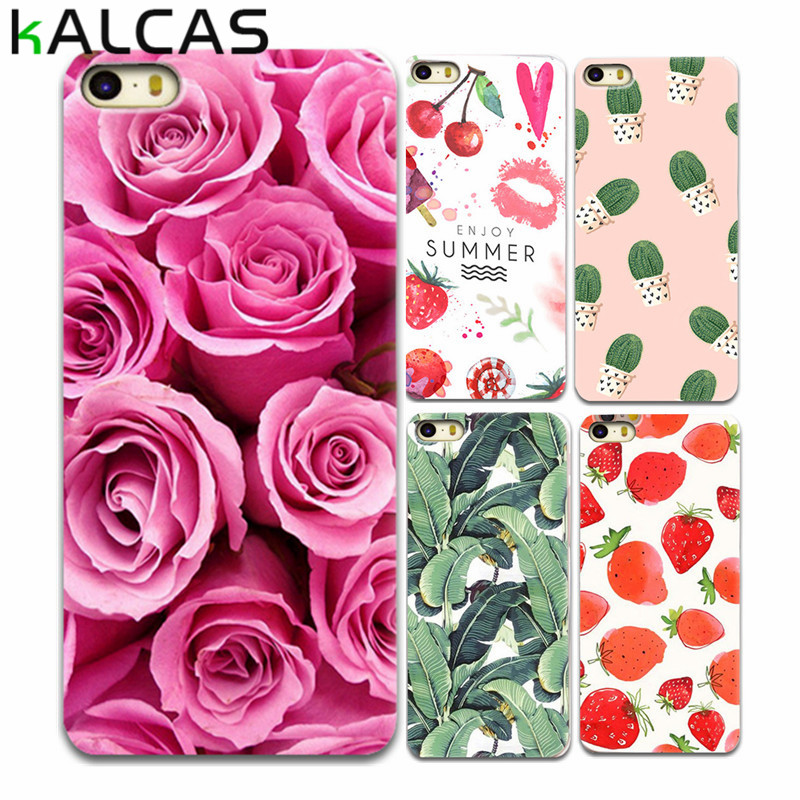 KALCAS Case Cover For iPhone 5s SE 6 6S 7 7 PLUS Luxury Floral Flower Rose Plant Print Shell Soft Capa Funda BACK Skin Coque(China (Mainland))