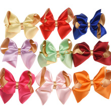 50pcs Glitter Bows Smooth Ribbon Bowknot Hair clips High Quality Barrette Fashion Accessories Headwear Accessory Hairbow(China)