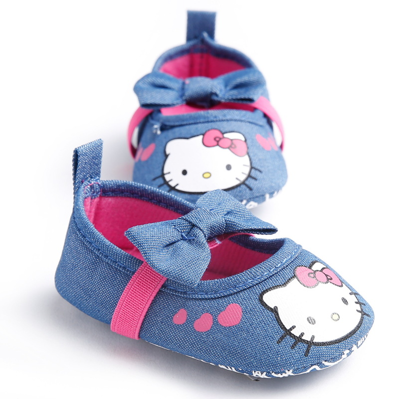 New Cute Baby Shoes First Walker Bow Lovely Hello Kitty Infant Crib Bebe Shoes Toddler Anti-Slip Kids Princess Girls Shoes<br><br>Aliexpress