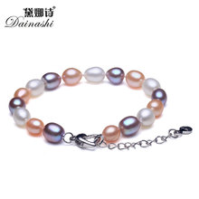 Elegant Mix 100% Natural Freshwater Pearl Women Strand Beaded Bracelet Fashion Vintage Good Quality Silver 925 Jewelry 2017(China)