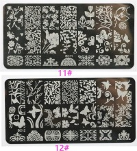 10PC Stainless Steel Nail Art Stamping Plates Fashion Patterns Nails Template Manicure Stamp Fingernails Polish Stencils 6*12cm(China)