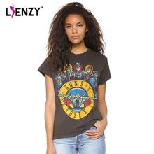 LIENZY Summer Funny T Shirt Short Sleeve Guns N Roses Skull Vintage Grey  Female Tshirt Tops big Size