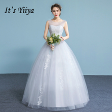 It's YiiYa Off White Sales Sleeveless O-Neck Bride Dresses Simple Pattern Beading Crystal Embroidery Plus Size Wedding Gown A625