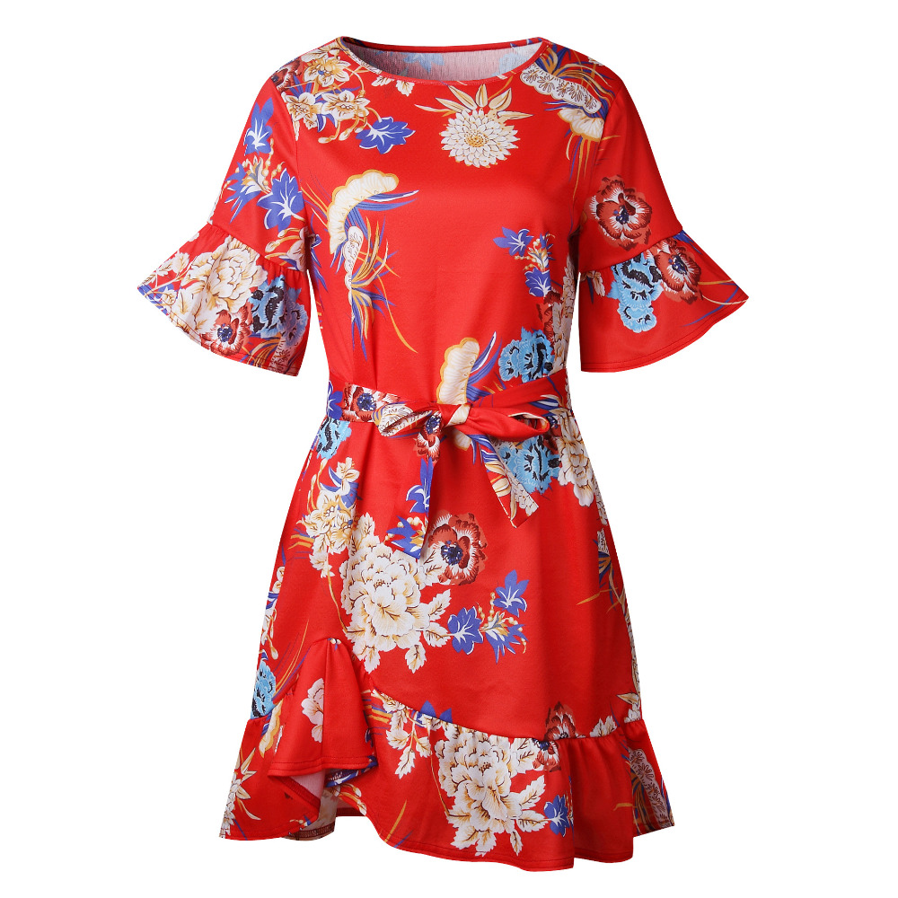 Lossky Summer Women Beach Dress 2018 Bohemian Floral Print Boho Dress O-Neck Short Sleeve Ruffle Mini Chiffon Dress With Belt 7