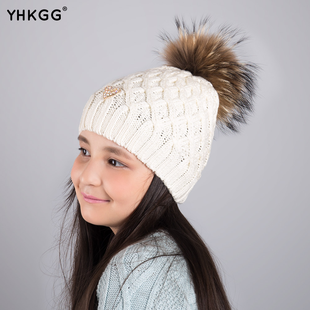 2017 YHKGG girl Pom Pom Beanie Warm Knitted Bobble Kids Fur Pompom Hat Children Real Raccoon Fur Pompon Winter Hat Cap