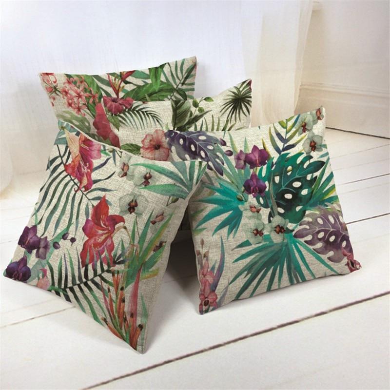 Cotton Linen Throw Pillow Case Tropical Plants Flower Cushion Cover Home Office Sofa Car Ornament Gadgets Houseware