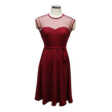 WLKE Summer Dress Women Sleeveless Round Neck Heart Dots Mesh Splice Cut Out Dress Solid Color Vestidos With Sashes KP1137