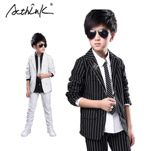 ActhInK New Big Boys Formal Striped Tuxedo Suit Brand Wedding Boys Cheap Formal Blazer Suits Kids Formal Costumes for Boys, C193(China)