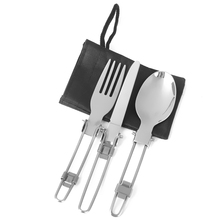 Stainless Steel Outdoor Camping Hiking Picnic Foldable Fork Spoon Tableware for Travelling BBQ Multi-Function Tools Silver