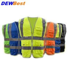 DEWBest High visibility reflective safety vest reflective vest multi pockets workwear safety waistcoat free shipping(China)
