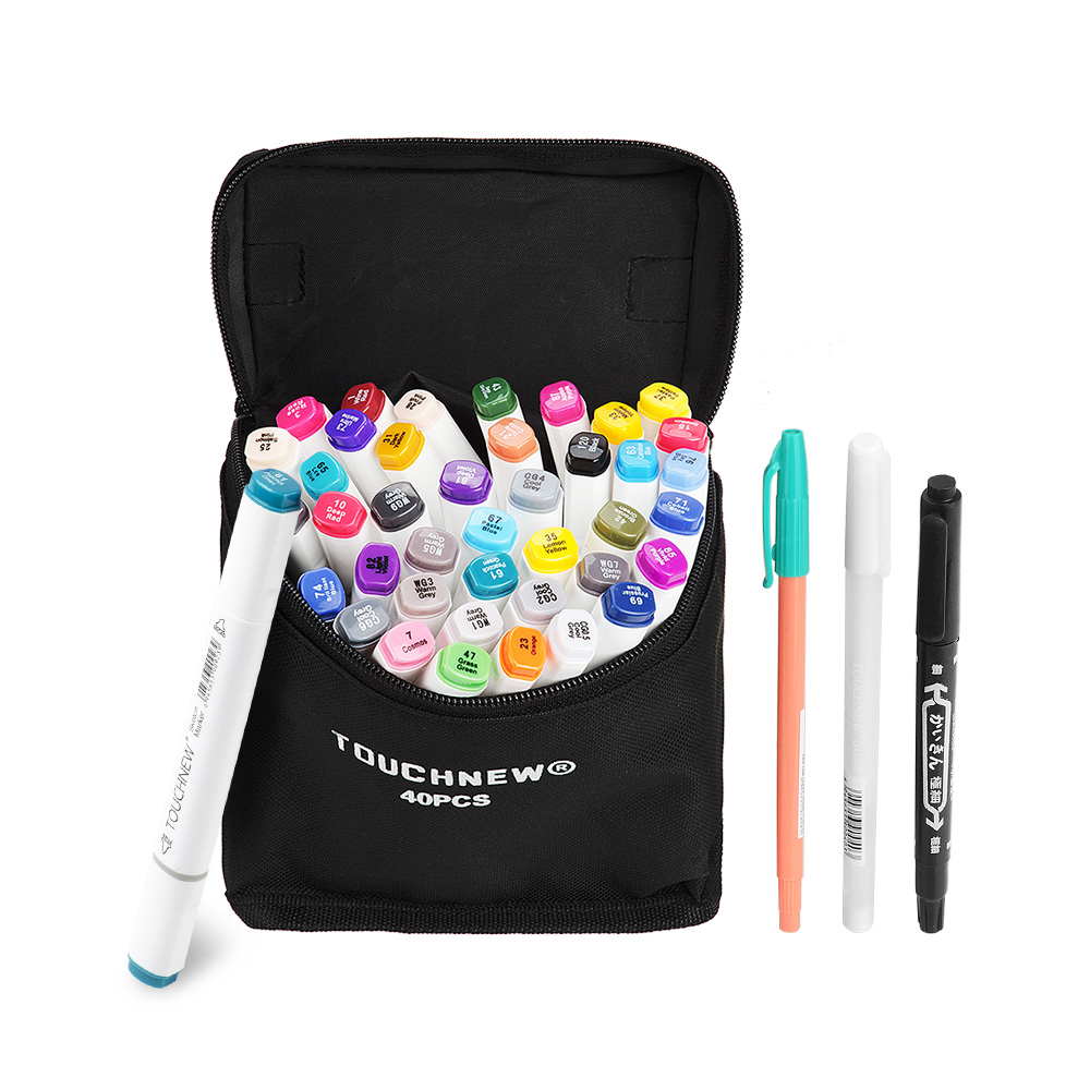 TOUCHNEW 40 Color Set Marker Pen Twin Tips Sketch Alcohol-based Art Markers Product Design White Body + Carry Bag<br>