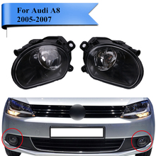 2x Front Bumper Headlight Lens Fog Lights FogLamp with Halogen Bulbs For Audi A8 Quattro 2005 2006 2007 Car Lighting #PDK583(China)