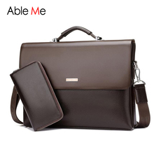 AbleMe Business Handbag Mens Fashion Leather Briefcases Tote Bag Male Sacoche Homme Document Laptop Shoulder Men Messenger Bags