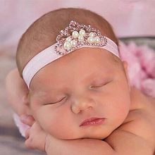 1PC Headband large Crown Headband Princess Pearl Rhinestone Headband Flower Hairband Photographic Hair Accessories w--016(China)