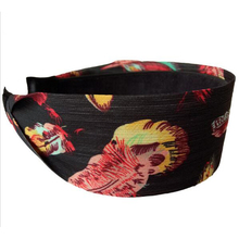 Metting Joura Bohemian Vintage Black Red Chiffon Flower Hairband Wide Fabric Wrapped Headband Hairband Hair Accessories
