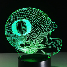 Sport Cap Night Lights Football Helmet Desk Lamp Produces Unique Lighting Effects 3D Colores Lamba Battery-powered Lamps Lampade