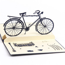 3D Pop Up Handmade laser cut Vintage Bike cards Creative Gifts Postcard Birthday Greeting Cards Children Gifts Christmas Gifts(China)