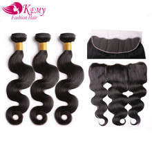 KEMY Brazilian Body Wave Remy Human Hair Weave Bundle Natural Color For Hair Salon 13x4 Lace Frontal Closure With 3 Bundles(China)