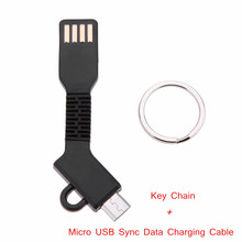 2-in-1 Micro USB Sync Data Charging Cable USB Cable Key Chain Mobile Phone Cables for Samsung HTC Android Smartphone Tablet PC