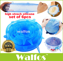 WALFOS 6pcs Universal Silicone Stretch Suction Pot Lids Kitchen Silicone Cover Cooking Pan Spill Lids Home Bowl Stopper Cover(China)
