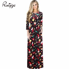 2017 Sexy Women Floral Print 3/4 Sleeve Boho Ladies Long Maxi Dress Pocket Ice Silk Tunic Party Christmas Dresses Xmas Vestidos