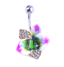 Enamel Esmalte Flowers Piercing Navel Gold Belly Button Rings Rasta Body Accessories Jewelry Lingerie Percing Mix Lots Wholesale