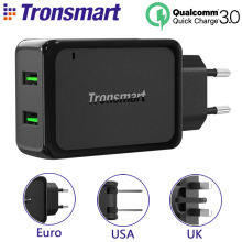 [EU US UK] Tronsmart W2TF 2 USB Ports Qualcomm Certified Quick Charge 3.0 USB Charger add VoltiQ Fast Phone Wall Charger Adapter(China)