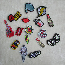 fashion pattern cloth logo patch  hot melt adhesive applique embroidery patches stripes DIY clothing accessories patch C413-C431
