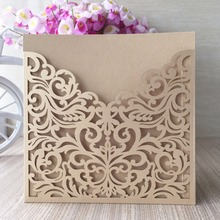 100Pcs /lot hot sale caved flowers design wedding party decoration pearl paper craft laser cut wedding invitation card greeting