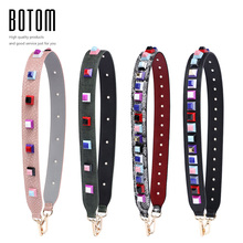 Botom New Style Colorful Rivet Straps PU Leather Fashion Buckles Tide Women Bolsa Belt Bag Accessories Bag Part Shoulder Straps